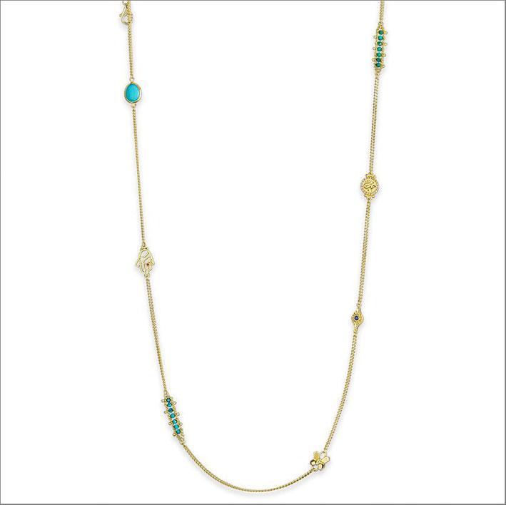 Collana in oro 18 carati con pietre semi preziose