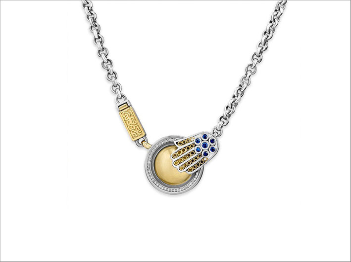 Collana in oro e argento di  ispirazione vintage