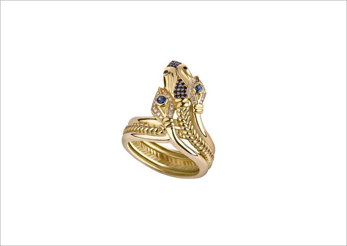 Anello con serpente a tre teste in oro, zaffiri e diamanti