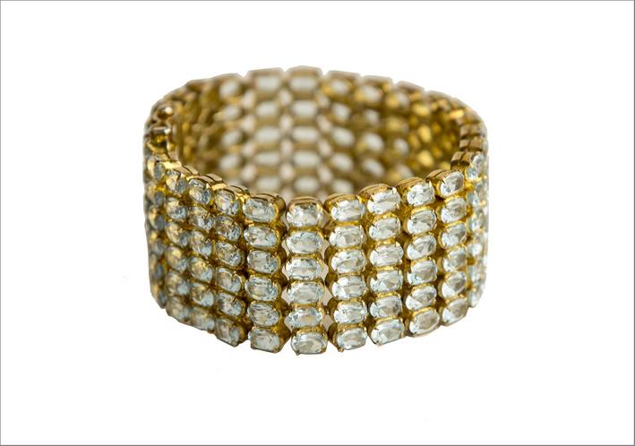 Bracciale in argento placcato oro e topazio