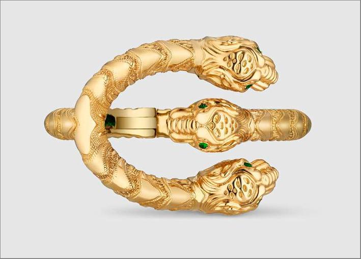 Gucci, bracciale Dionysus in oro giallo e tsavoriti