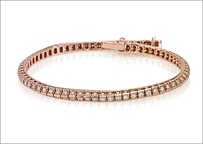 Crieri, bracciale tennis in oro rosa e diamanti