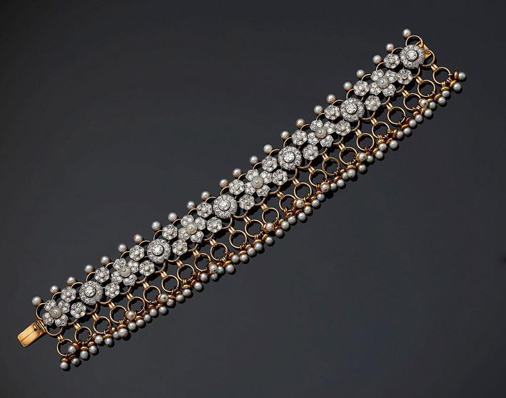 Bracciale di Cartier in stile indiano, oro e diamanti. Circa 1939