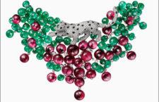 Collier della collezioen Rèsonances di Cartier, con smeraldi e rubelliti