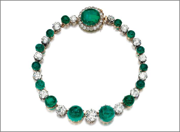 Collana con diamanti w smeraldi