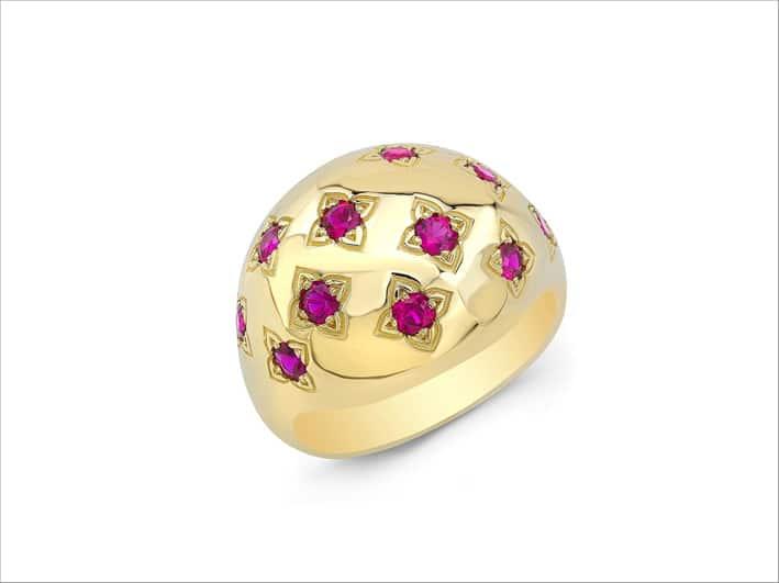 Anello Dome con rubini