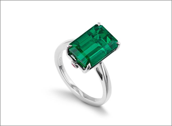 Anello di Gübelin in platino e smeraldo
