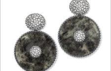 Hemmerle, orecchini con giada, diamanti, argento, oro bianco
