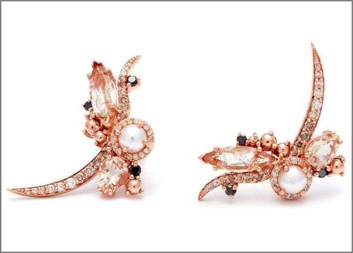 Anna Sheffield, orecchini in oro rosa 18 carati e perle