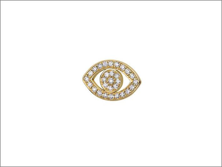Orecchino a bottone in oro 18 carati e diamanti