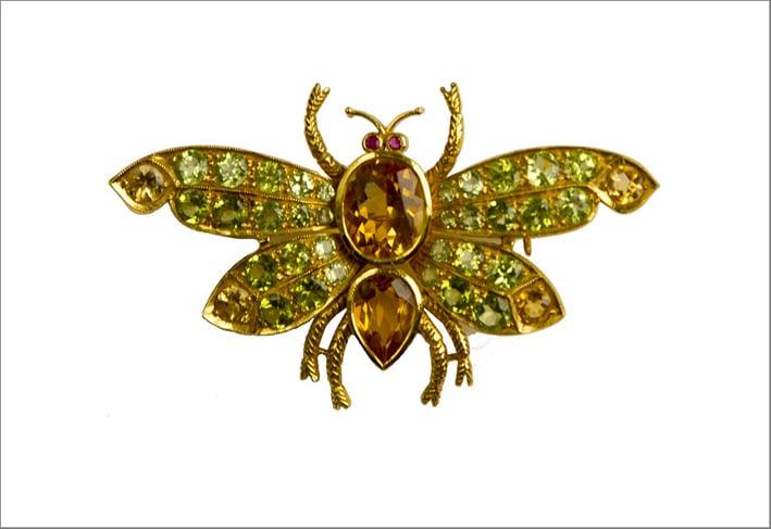 Spilla farfalla con peridoti e citrini