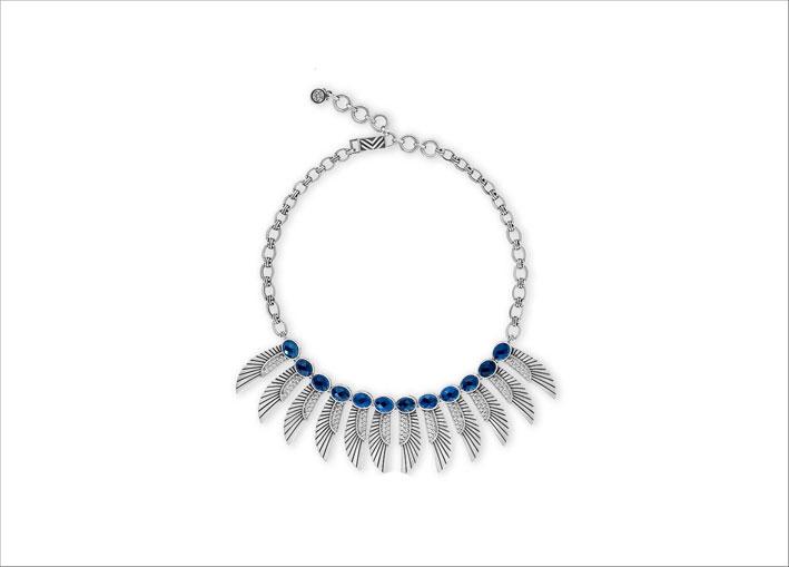 Collana ispirata alle ali protettive delle antiche dee egiziane, argento e topazio blu