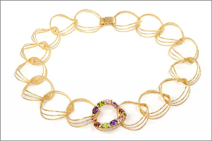 Vendorafa, collana Lace, in oro, ametista, peridoto, rodolite, topazio rosa, diamanti