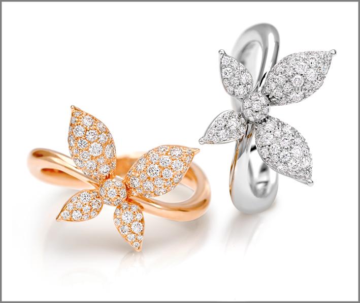 Anelli in oro rosa e oro bianco e diamanti