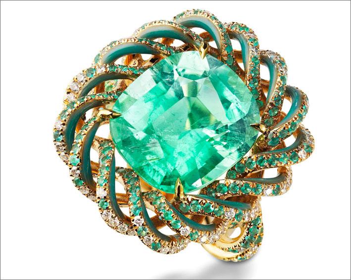 Anello Vuoi una mentina? Di Suzanne Syz, con tormalina Paraiba, oro, smalto, diamanti
