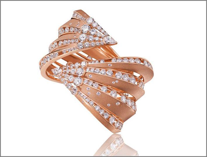 Bracciale Dune, oro rosa e diamanti