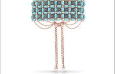 Stefan Hafner, collezione Maioliche. Bracciale in oro rosa, diamanti neri e turchesi