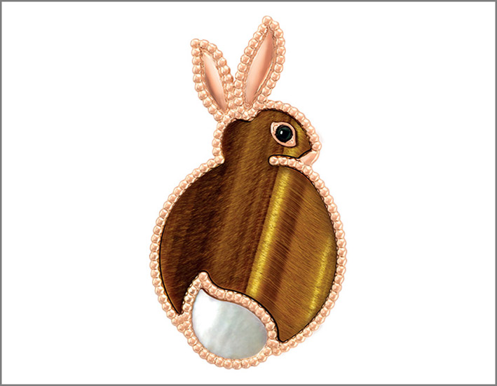 Coniglio, oro rosa, occhio di tigre, madreperla bianca, onice