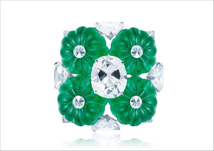 Smeraldi con taglio barocco e diamanti taglio rosa