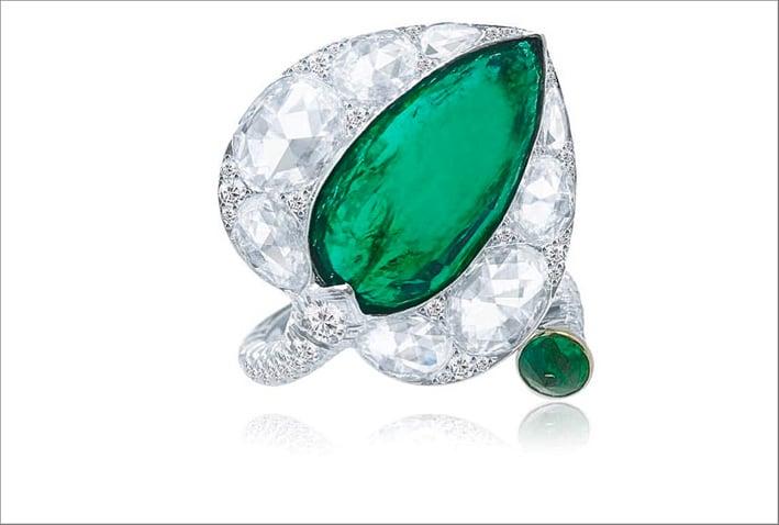 Anello con smeraldo e diamanti taglio rosa