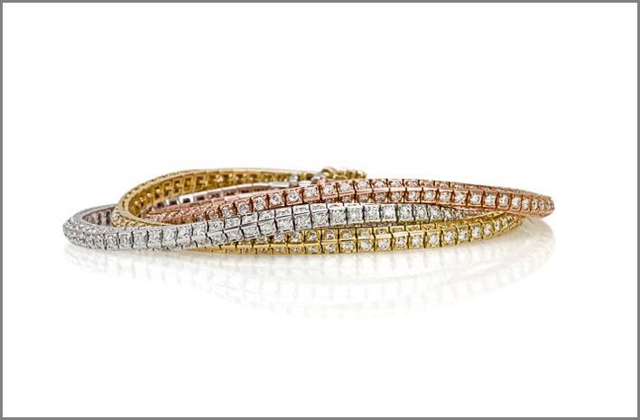 Crieri, bracciali tennis in oro bianco, rosa e giallo con diamanti