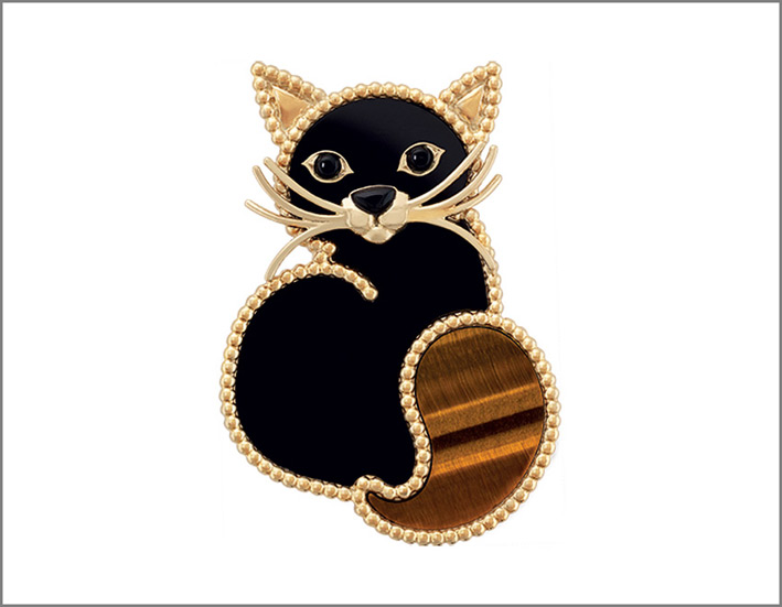 Gatto, oro giallo, onice, occhio di tigre