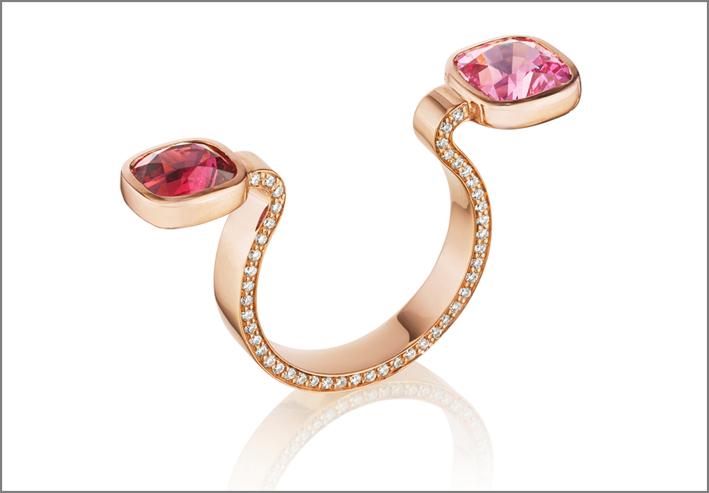 Anello in oro con pavé di diamanti e spinello rosso e rosa
