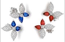 Orecchini in oro bianco, diamanti, zaffiri e rubini