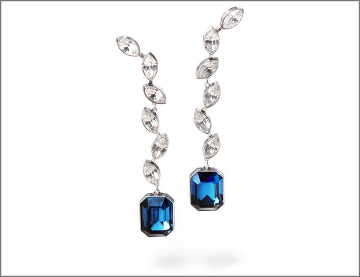 Orecchini con cristalli e citrini blu
