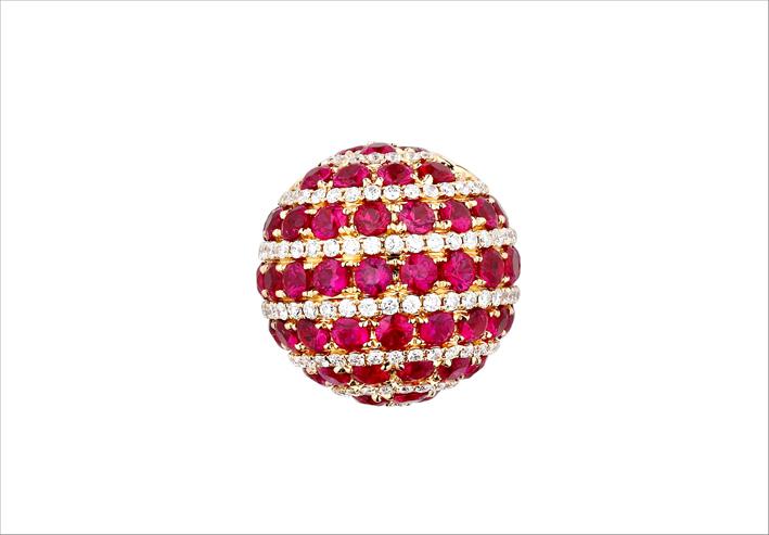Pendente con rubini e diamanti