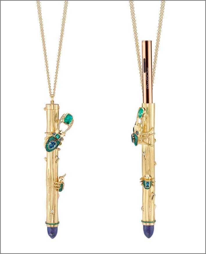 Daniela Villegas, collana con pendente vaporizzatore di cannabis, oro, diamanti, tormalina, lapislazzuli