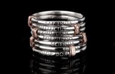 Anello della collezione Settedoni in argento e rodiato rosa