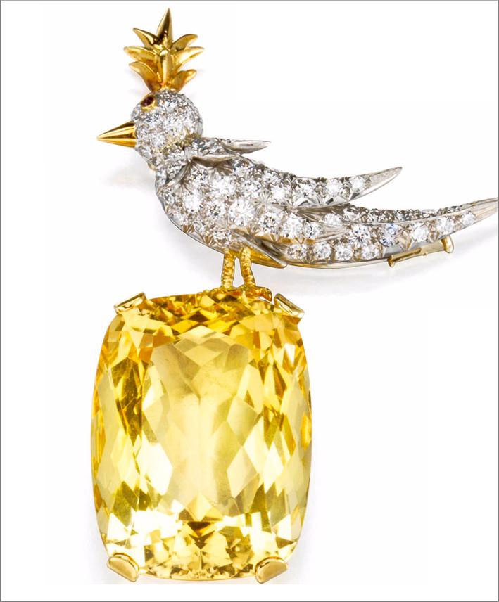 Spilla Uccello su una roccia, citrino e diamanti, firmata da Jean Schlumberger per Tiffany & co