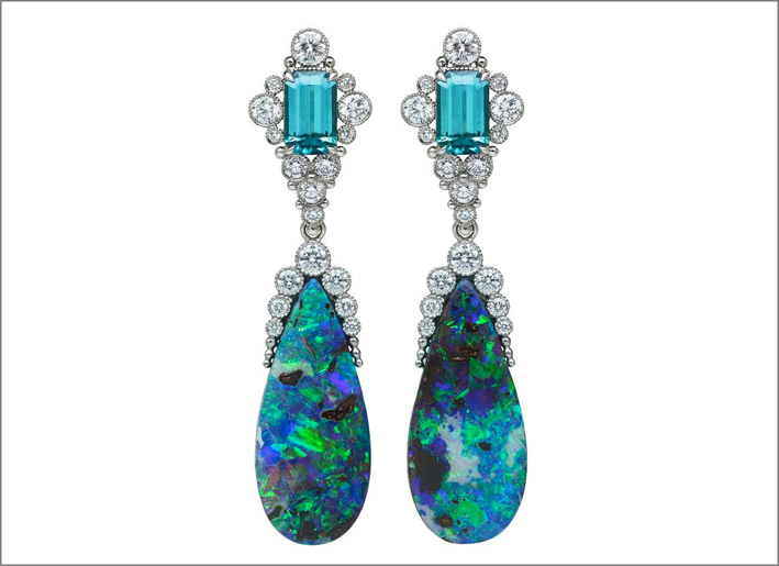 Orecchini con opali boulder e tormalina indigo, diamanti