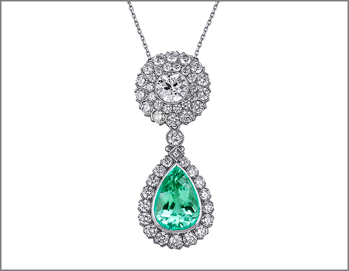 Prendente con diamanti e tormalina Paraiba