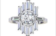 Anello di platino con diamante di oltre 1 carato e diamanti baguette. Prezzo: 17.264 euro