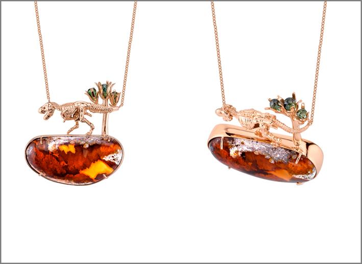 Pendenti con T-Rex Skeleton, oro rosa, opali di fuoco