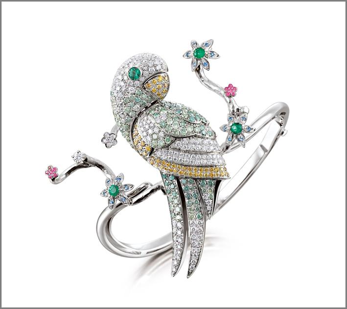 Bracciale Parrot, oro 18 carati, diamanti, zaffiri e smeraldi