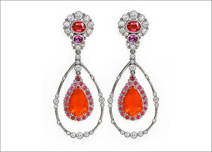 Orecchini con opale di fuoco da 9,85 carati, spinello rosso, spinello rosa, diamanti