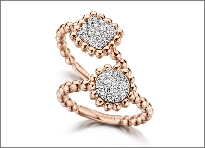 Tirisi, anelli con pavé di diamanti