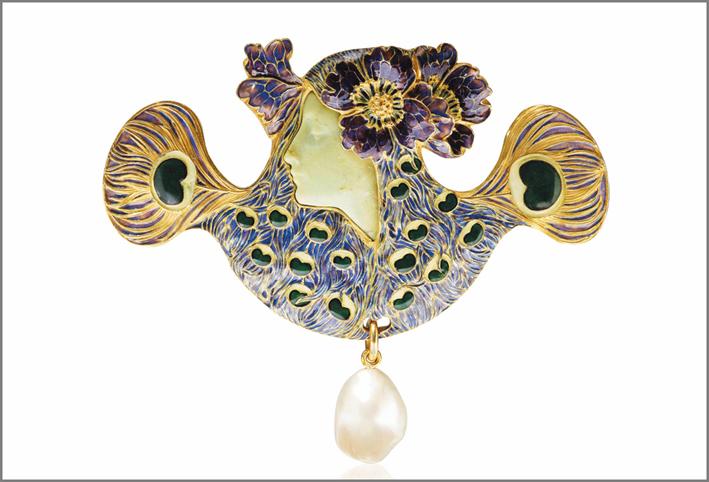 Spilla di René Lalique, con smalto e crisoprasio
