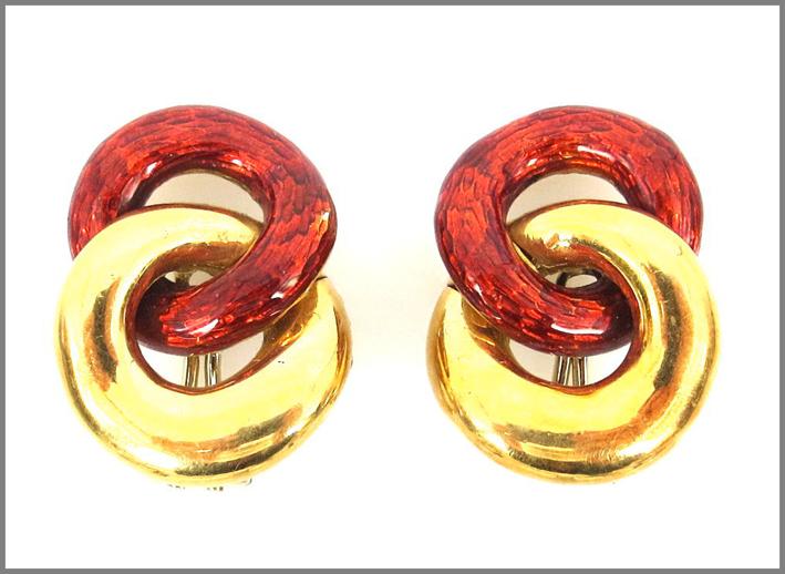 Orecchini burgundy in oro e smalto rosso