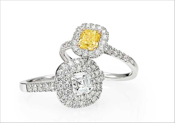 Anelli con diamanti bianchi e fancy yellow