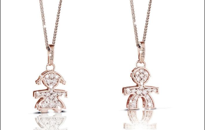 Silhouette maschietto femminuccia. Oro rosa, diamanti. Prezzo: 780 euro