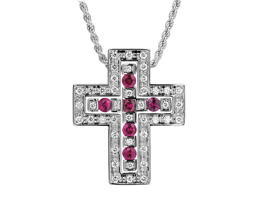 Croce in oro bianco, rubini e diamanti