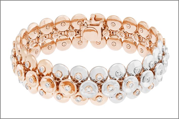 Vane Cleef & Arpels, bracciale in oro rosa, oro bianco e diamanti