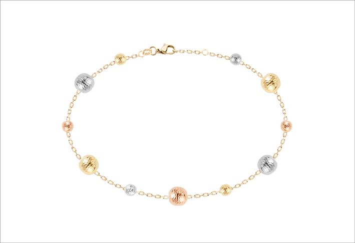 Bracciale Lumière in oro giallo e rosa  con sfere diamantate