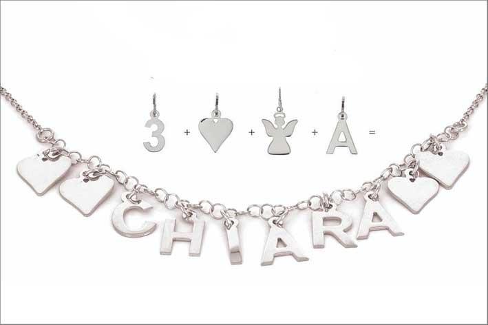 Collana personalizzabile e pendenti in argento