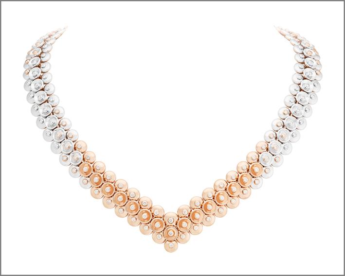 Collana in oro rosa, oro bianco e diamanti