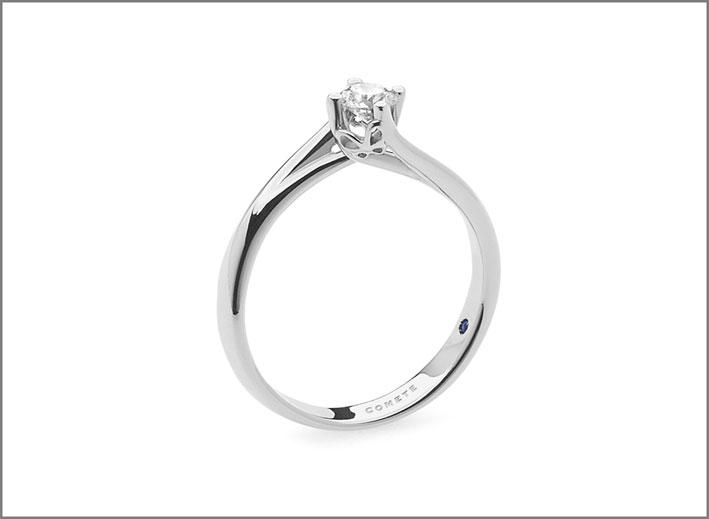 Comete, anello con diamante montato a giorno